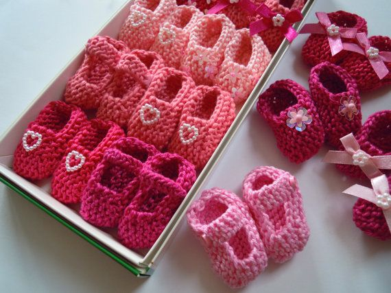 Girl Baby Shower Decorations: 4 Pairs Hand Knit Mini Booties Decorations    2 Inches