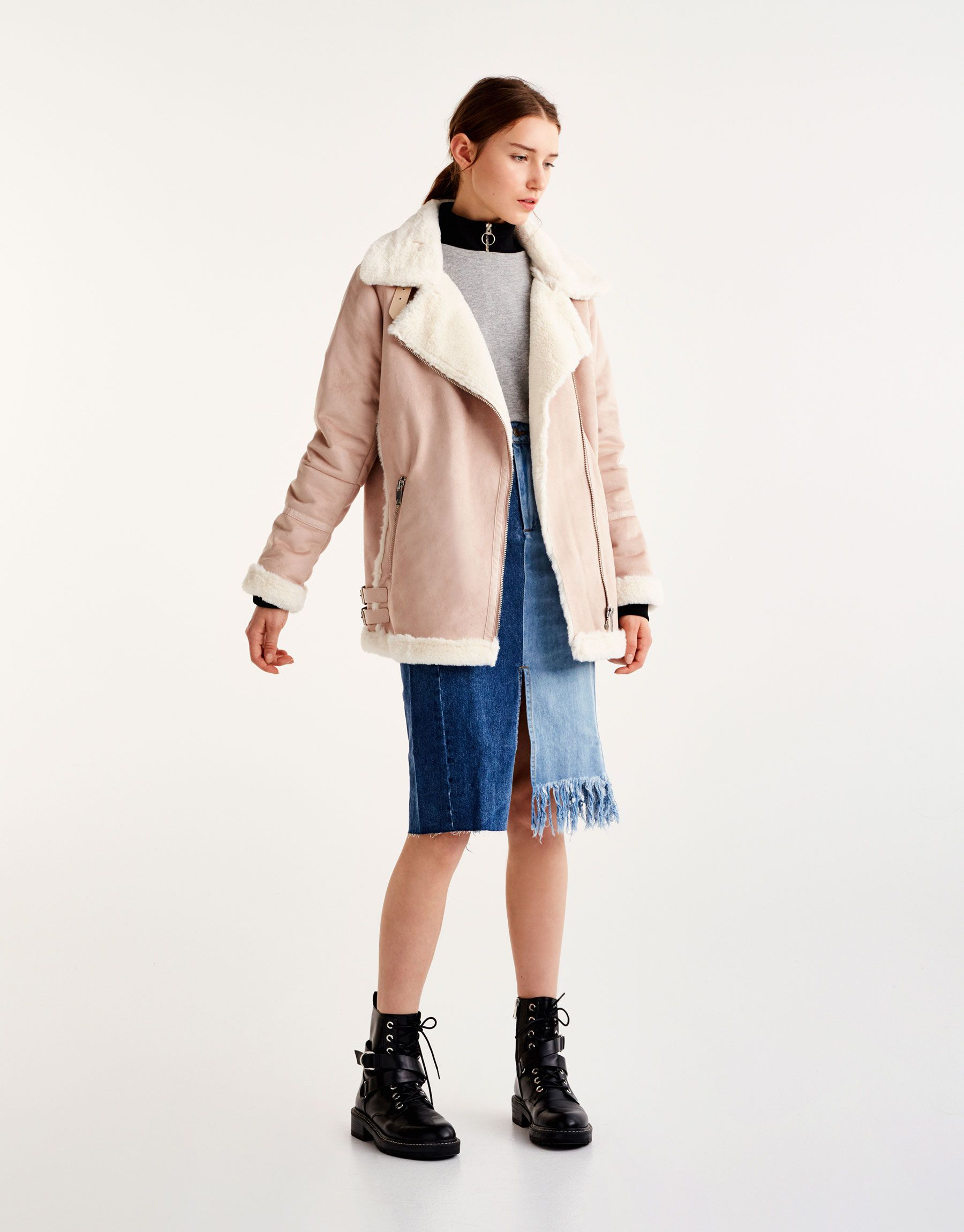 Faux suede biker jacket with faux fur interior Coats and