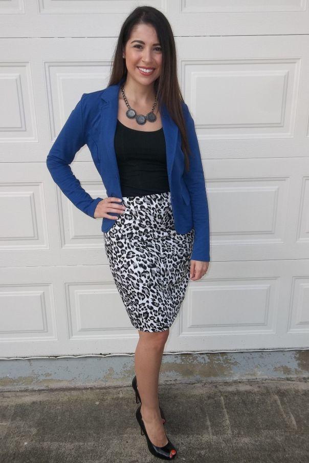 fun leopard print skirt + blue blazer makes for a cute 3f0c6bea4