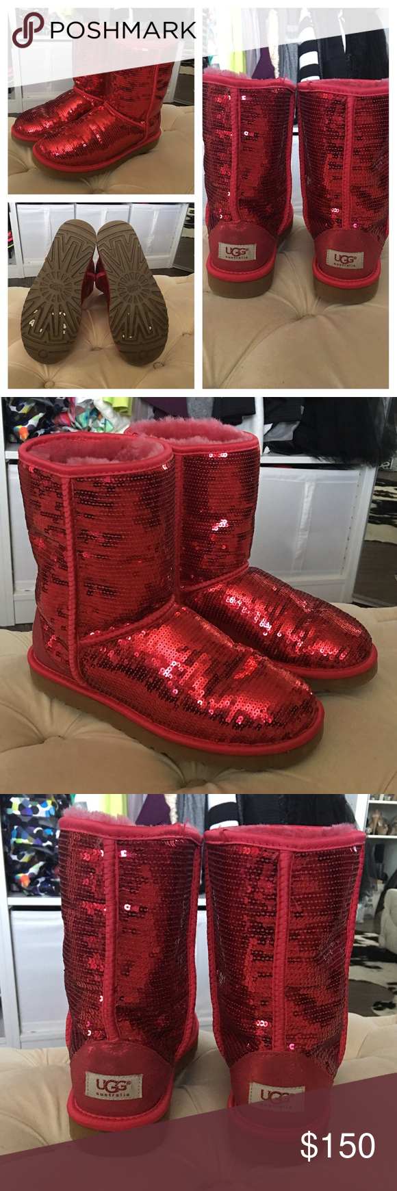 fdab11770a2 Ruby Red Sequin UGGS Size 8 Only worn in the house twice. Sticker ...