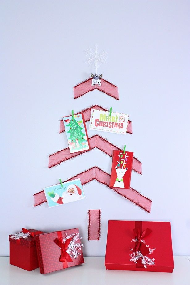 Easy DIY Christmas Card Holder Ribbon Tree Christmas card holders
