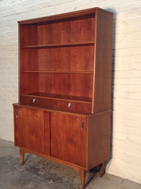 midcentury danish modern china cabinet hutch bookcase buffet by keller