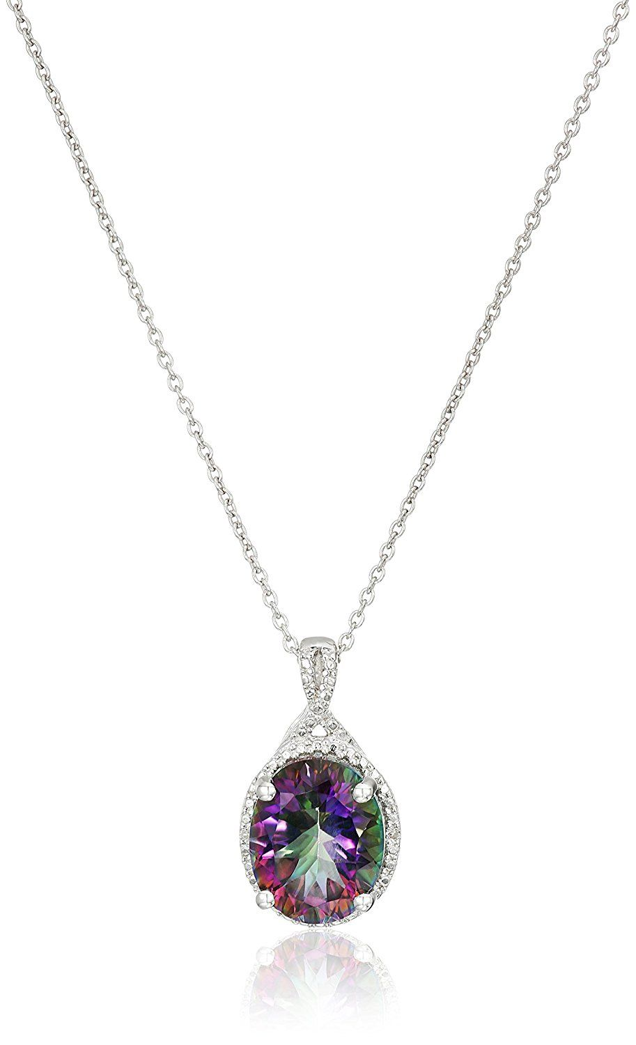 Sterling silver mystic fire topaz and diamondaccented oval pendant