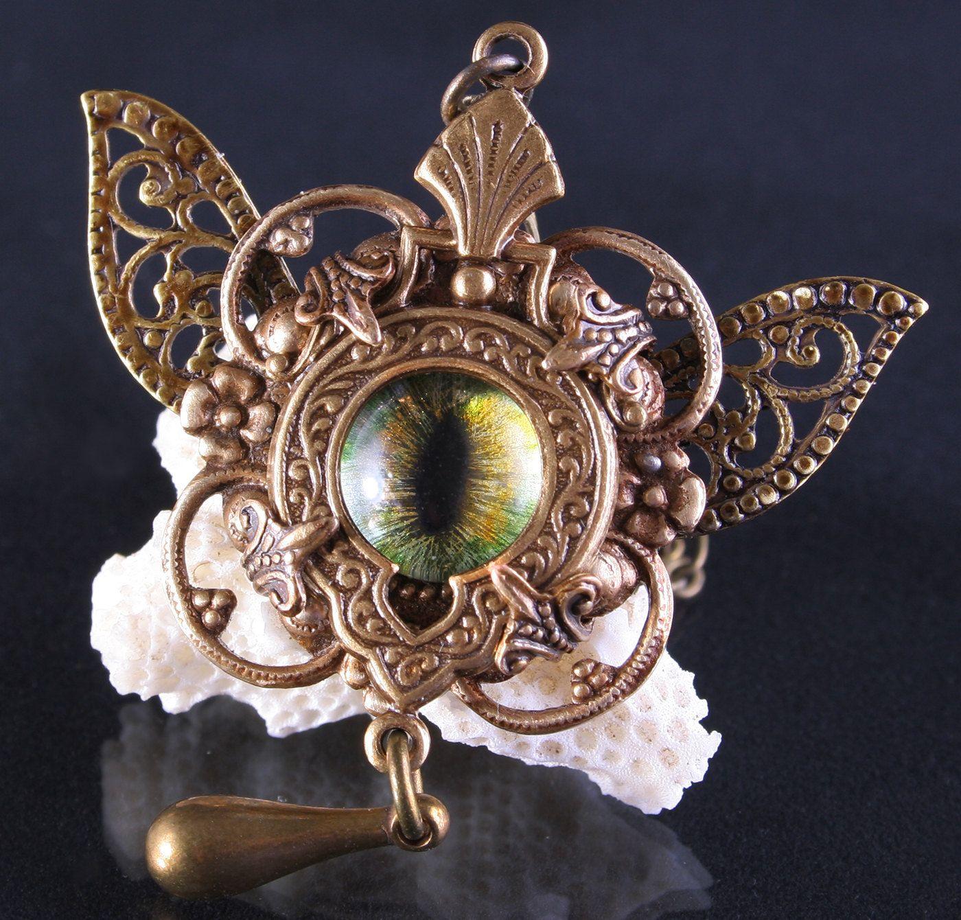 Gothic Steampunk Cat Evil Eye Necklace 44.99 #Evil #Eye #Necklace