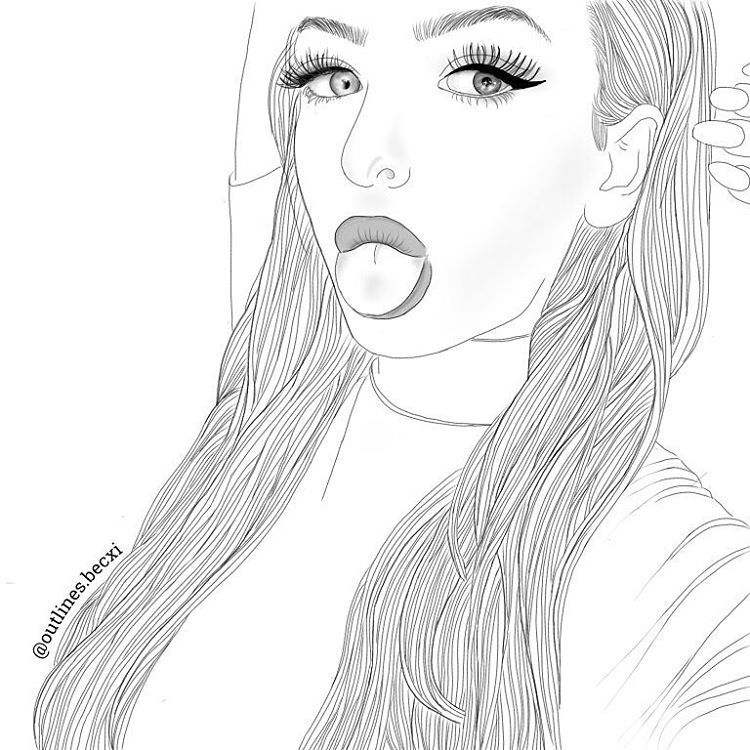 Line Drawing Tumblr Girl : Outlines nice lines drawing illustration girl face