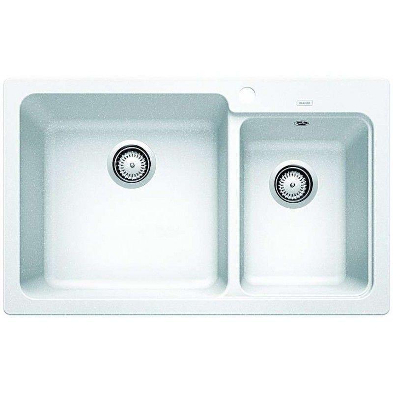 Blanco 1 1 2 White Double Bowl Inset Granite Sink Naya8wk5 In
