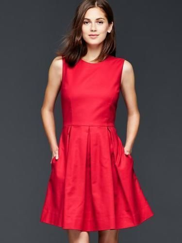 79536bc0e36 GAP Women Dress Sz 8 Fit   Flare Tank Red Crew Neck Pleated Full Skirt  Cotton  GAP  FitandFlare