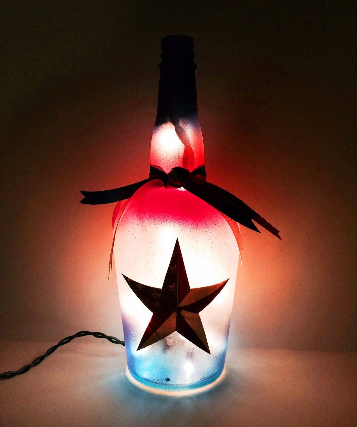 Rustic Star Red White And Blue Liquor Bottle Light Night Light Bottle Lamp Americana Patriotic Dec Bottle Lights Liquor Bottle Lights Lighted Wine Bottles