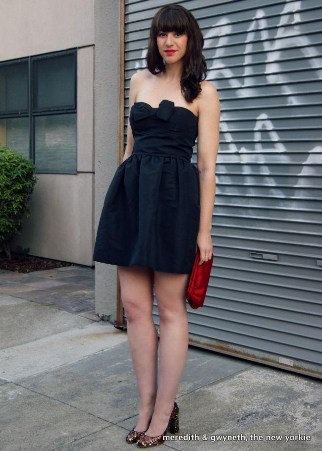 Red Valentino Black Bow Strapless Dress With J Crew Etta Sequined