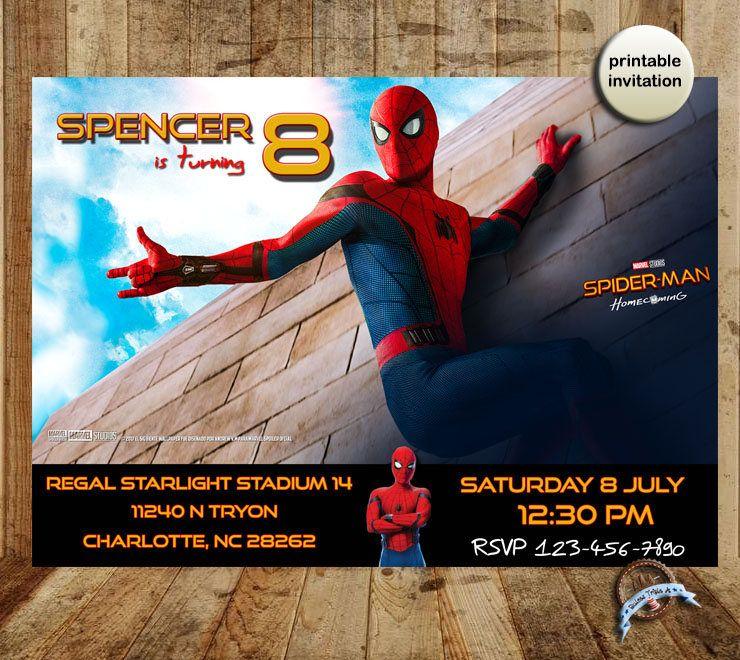 Spiderman Homecoming, Spider-Man Homecoming Invitation, Spiderman ...