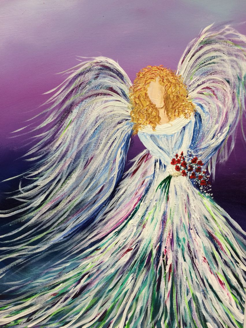 Acrylic angel holding a bouquet of flowers prophetic art for Pretty acrylic paintings