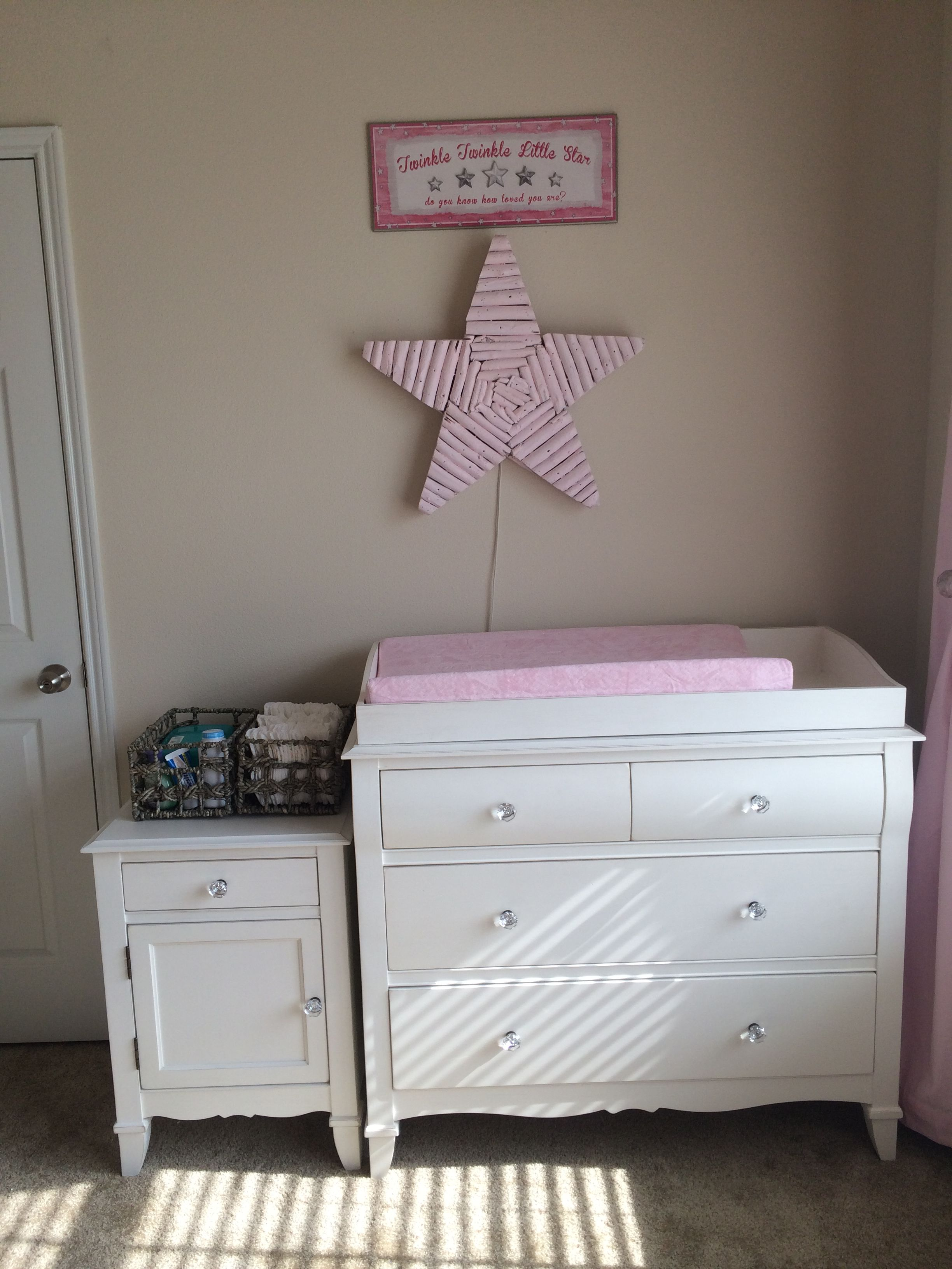 Changing station dresser/topper with night stand placed
