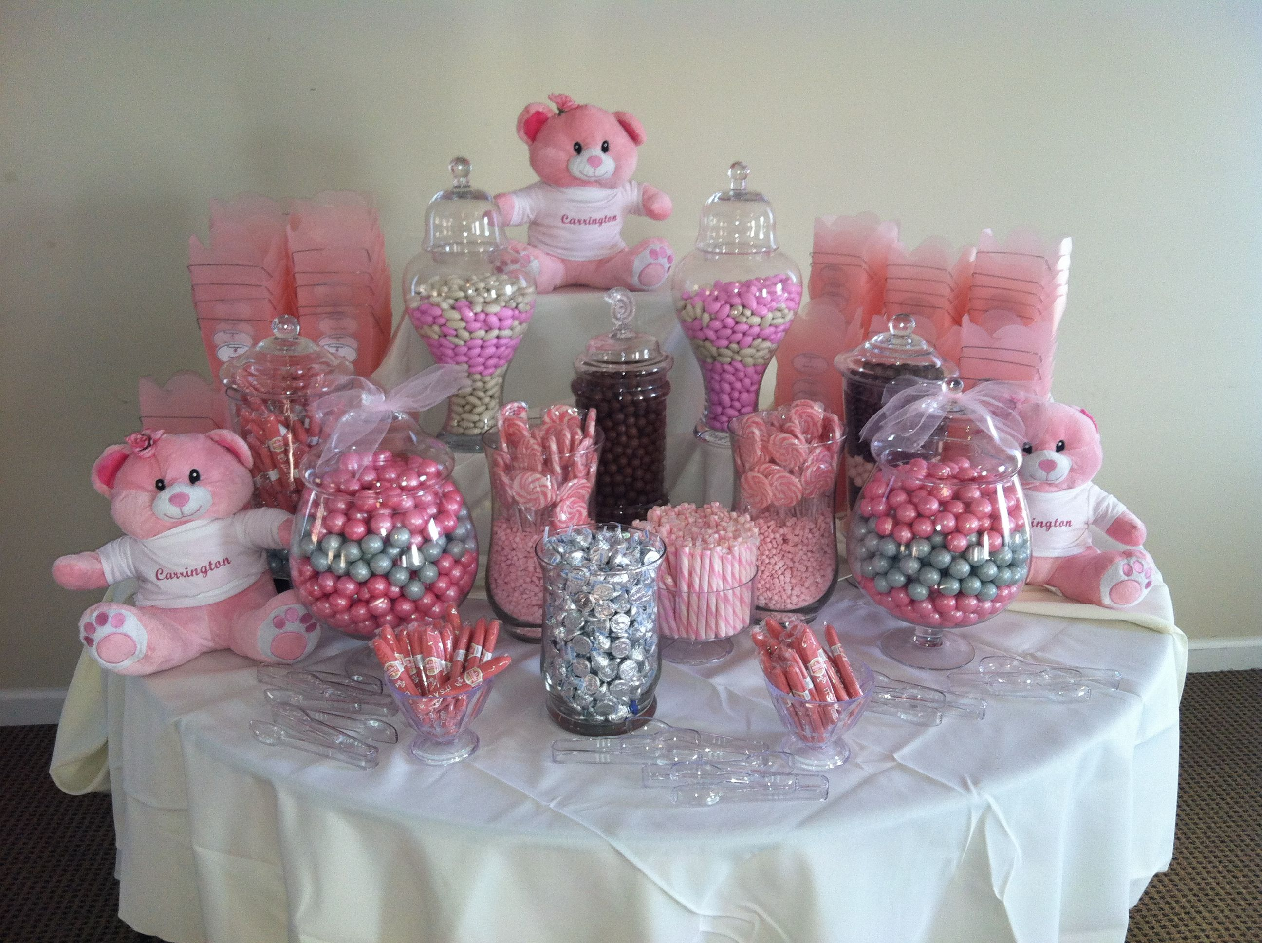 Pretty in Pink candy bar no teddy bears i like the idea of