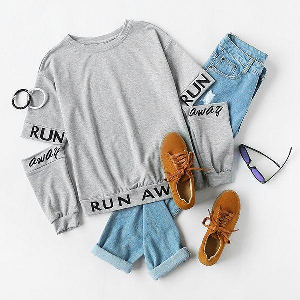 Mix & Match Heather Grey Letter Print Split Elbow Sweatshirt