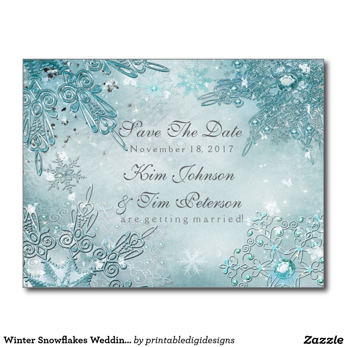 Winter Snowflakes Wedding Postcard Save The Date