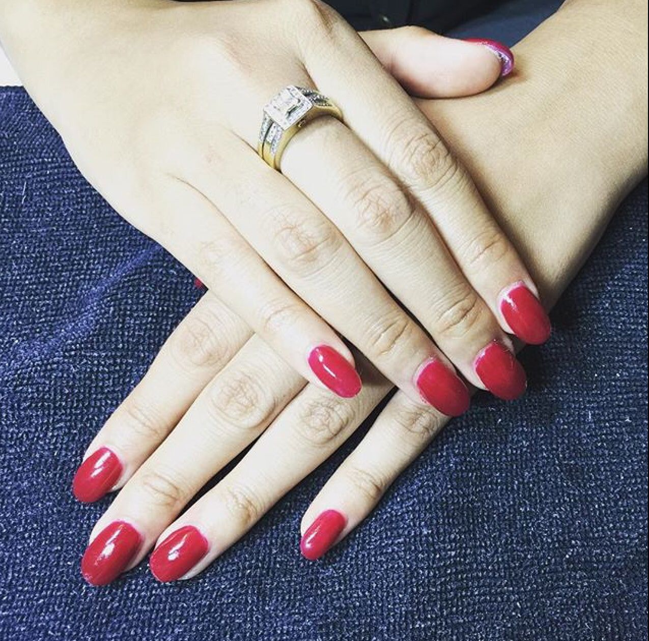 """""""CHICK FLICK CHERRY"""" for this gorgeous lady ✨ full set acrylics with OPI Gel Polish #jayelsbeauty #acrylicnails #perthnails"""