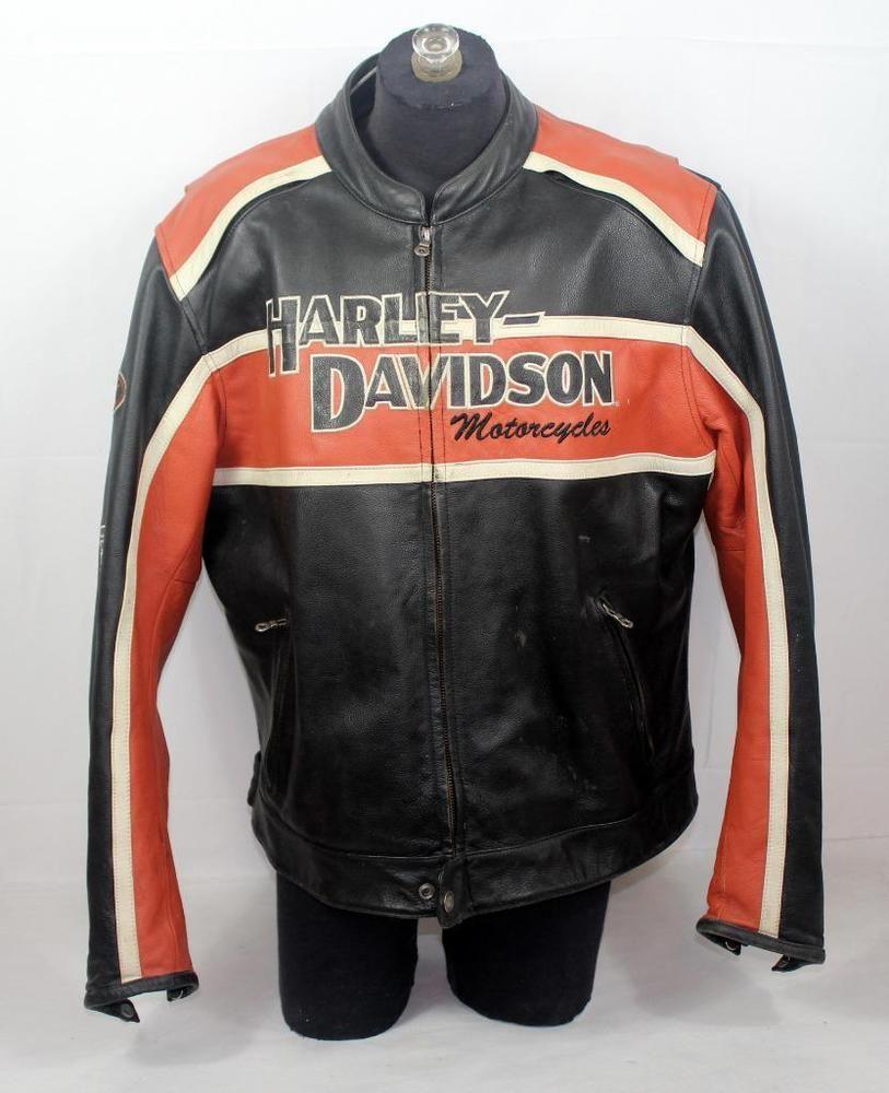 Vintage Harley Davidson Leather Jacket Cruiser Classic Black Orange Men S Xl Harley Davidson Leather Jackets Harley Davidson Men Harley [ 1000 x 813 Pixel ]