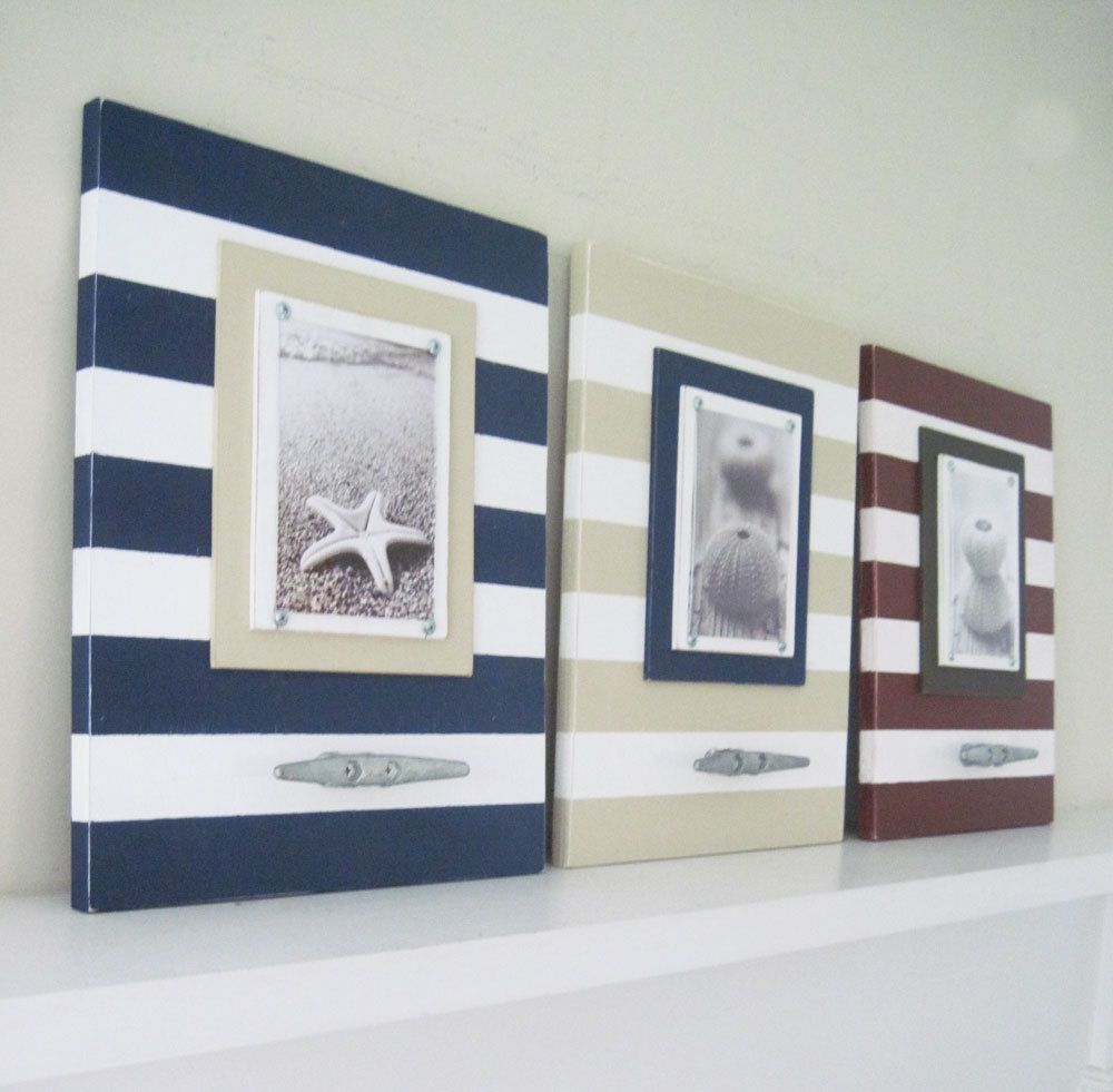 set of three stripe nautical frames with boat cleats for 5x7 17500 via etsy - Nautical Picture Frames