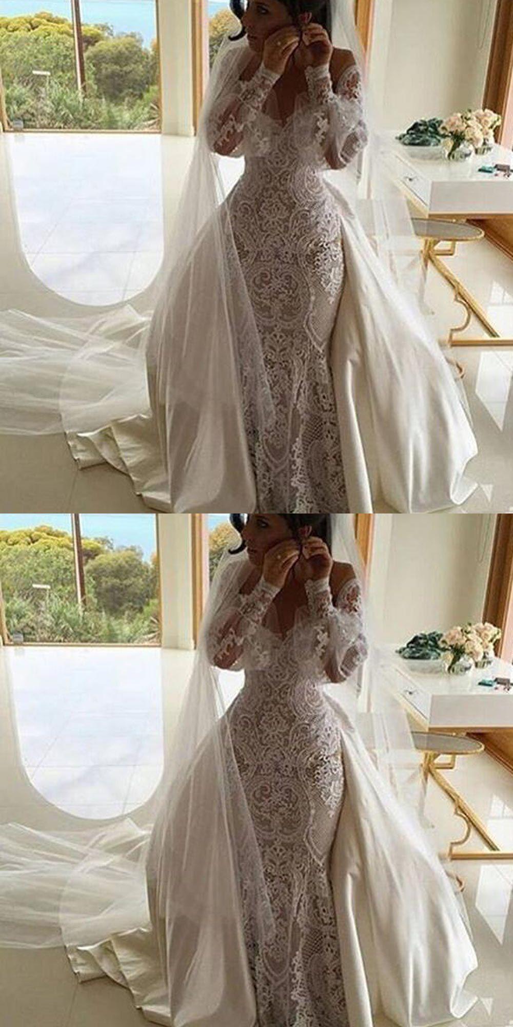Long sleeve lace wedding dress mermaid  Mermaid OfftheShoulder Long Sleeves Lace Wedding Dress with