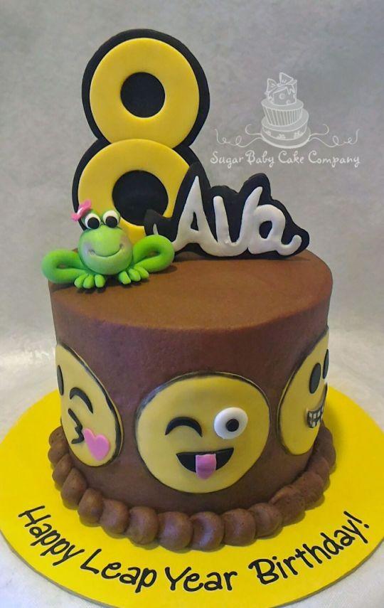 Emoji Leap Year Birthday Cake Tortas De Cumpleanos Pastel De