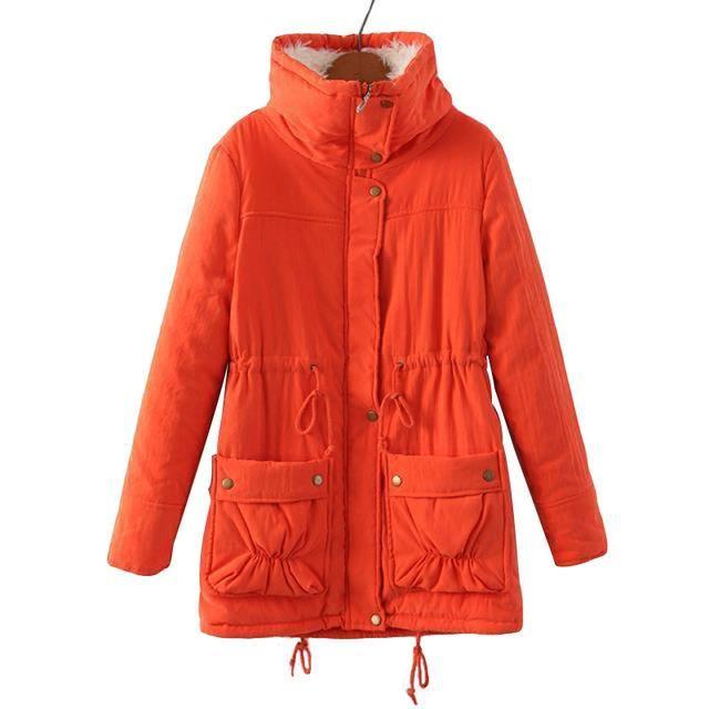 Women Jacket Coat 2017 Winter Warm Parkas Turn Down Colla Casual Coat Outwear Medium Long Slim Parkas Fashion Overcoat