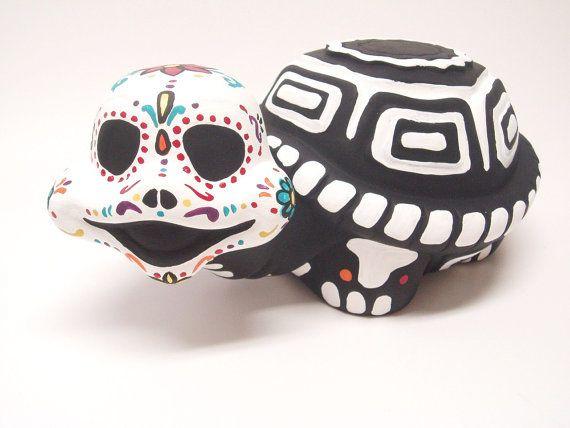 Day Of The Dead Dia De Los Muertos Garden Ceramic Turtle Day Of The Dead Sugar Skull Art Ceramic Turtle