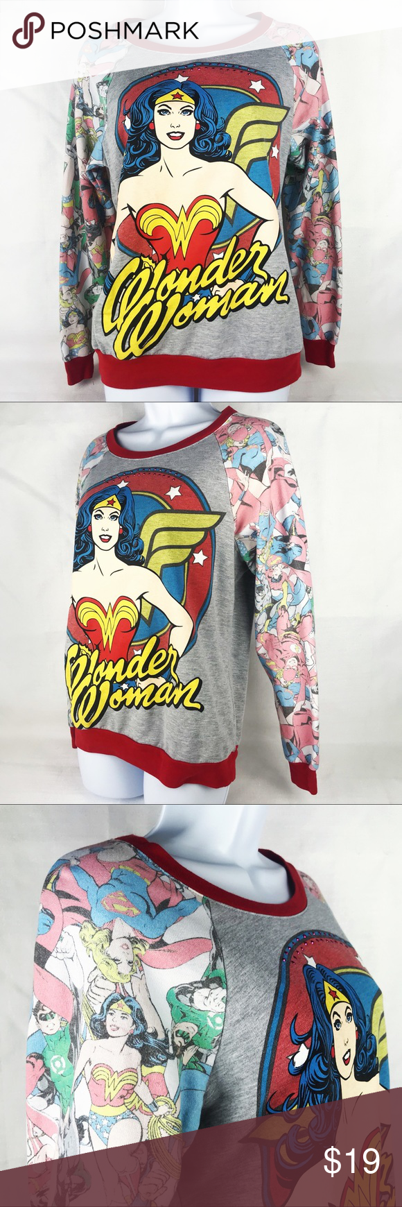 72794b76e6e DC Comics Wonder Woman   Peeps Raglan Sweatshirt DC Comics Wonder Woman    Peeps Raglan Sweatshirt