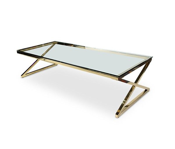 AICO Furniture - Trance Stacy Rectangular Cocktail Table with Brass Legs - TR-STACY201B