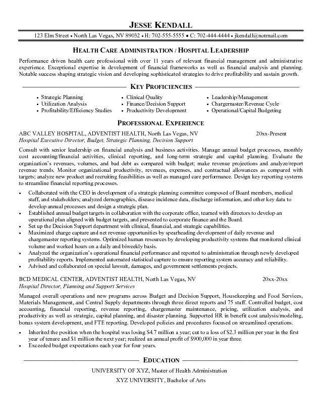 Hospital Executive Director -   wwwresumecareerinfo/hospital - utilization management nurse sample resume