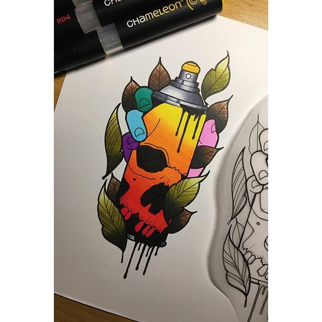 Loving this colourful spray can tattoo design created by ...