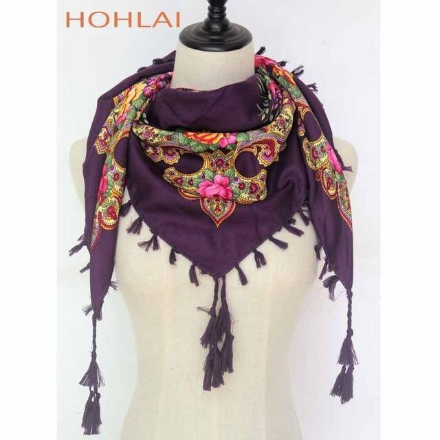 54fe7e40949 New Hot Sell Russia Wquare Fashion decorative Scarf handmade tassel ...