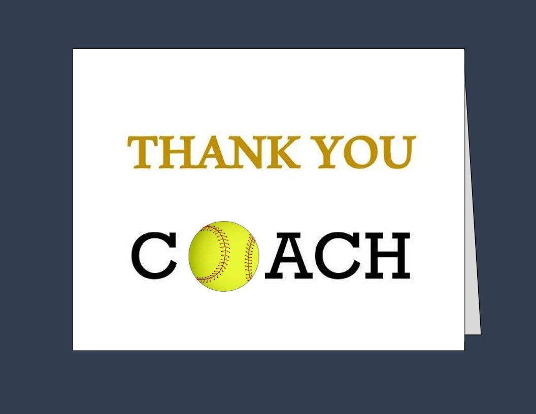 Softball Coach Thank You Card Printable Thank You Cards