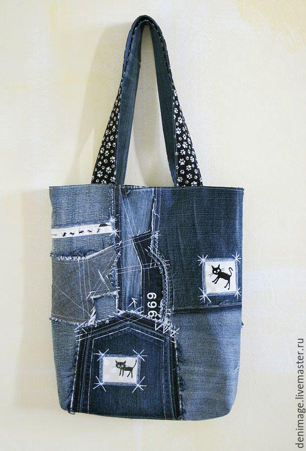 Купить Джинсовая сумка с котами - тёмно-синий, джинсовая сумка, джинсовый стиль, деним, джинса