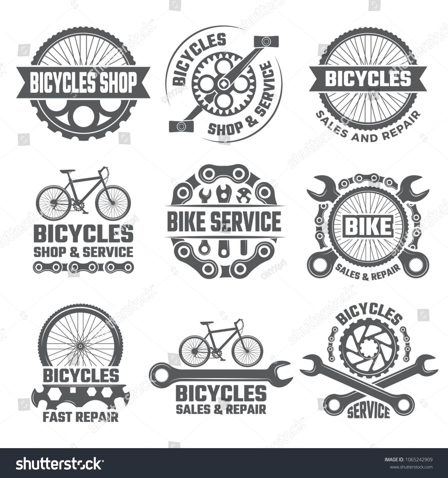 Labels And Sport Logos Set With Parts Of Bicycle Vector Sport Bicycle Logo And Badge Repair Bike Illustration Set Part Logo Set Sports Logo Bike Illustration