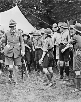 Image result for 1908 – The first Boy Scout troop is organized in England by Robert Baden-Powell.