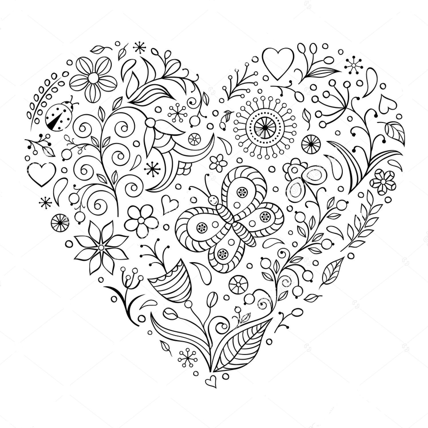 Printable coloring pages zentangle - Heart Zentangle Coloring Page