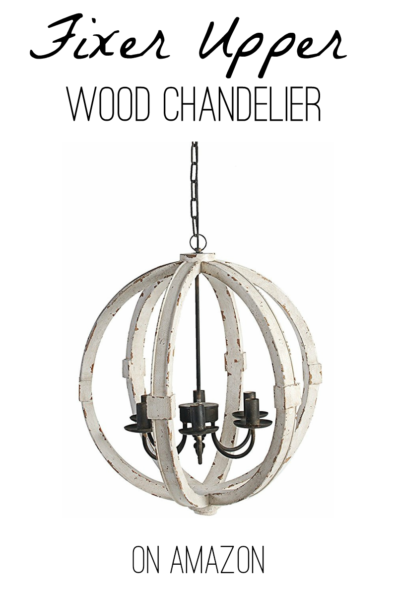 Joanna S Favorite White Wood Round Chandelier On Amazon Fixer Upper Wood Farmhouse Lighting Dining Farmhouse Light Fixtures Dining Areas Wooden Chandelier