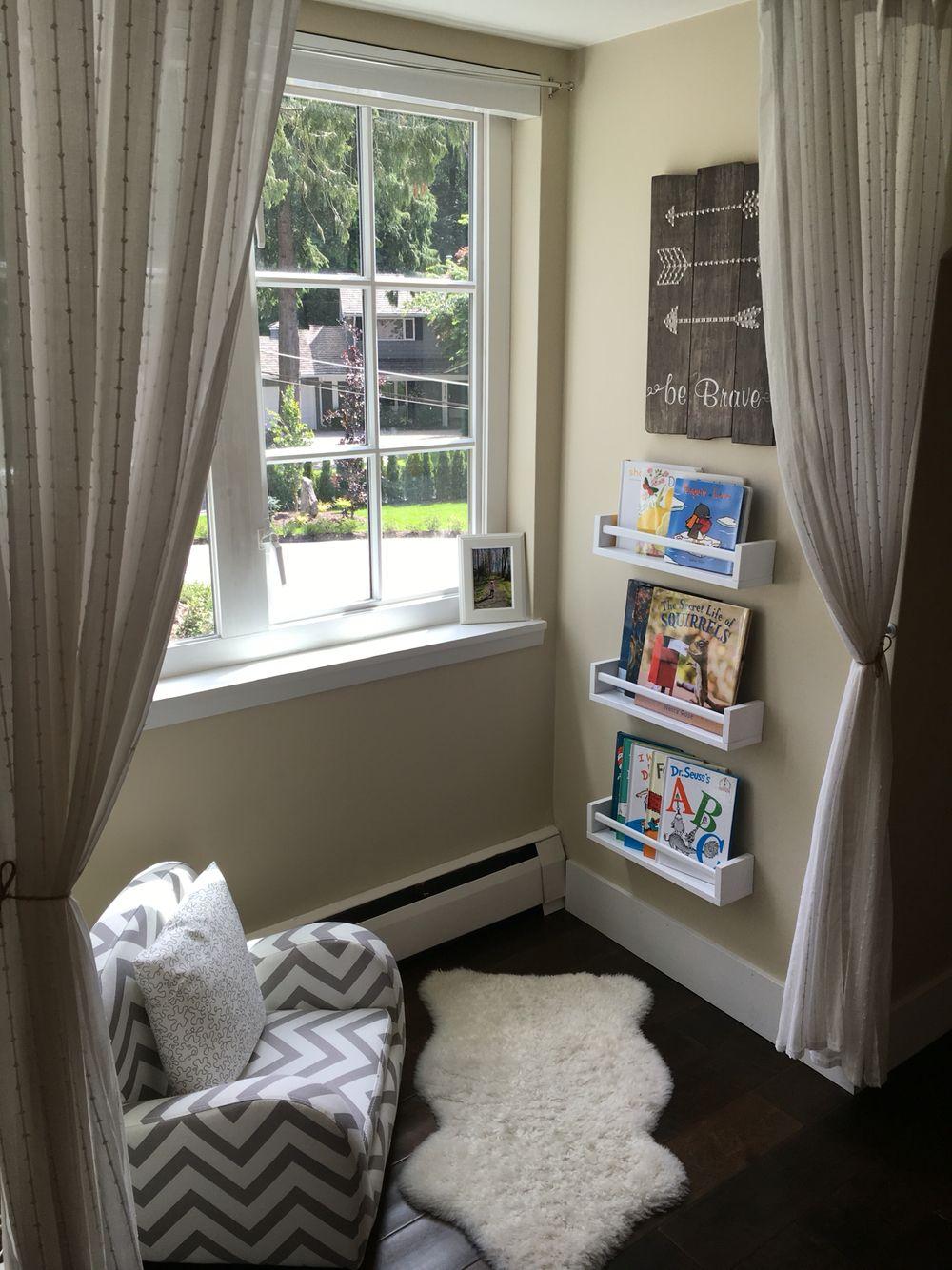 Reading corner - bookshelves from ikea spice racks