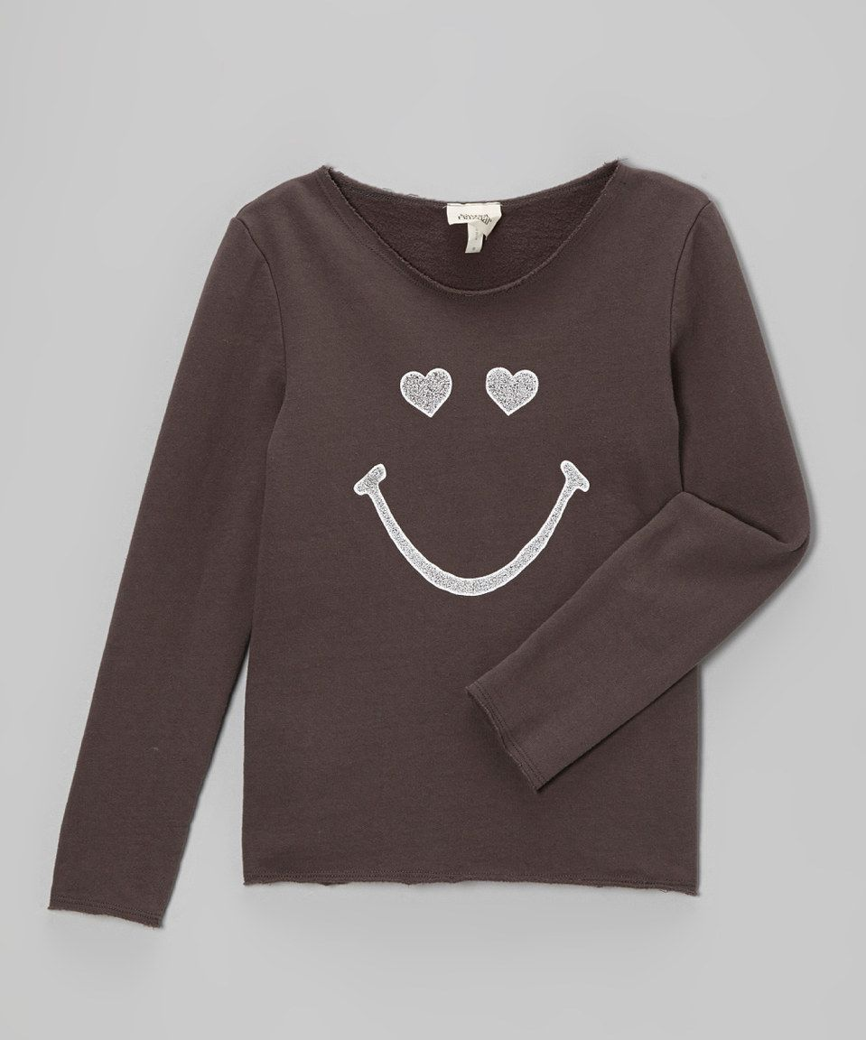 Loving this Charcoal Glitter Smiley Tee on #zulily! #zulilyfinds