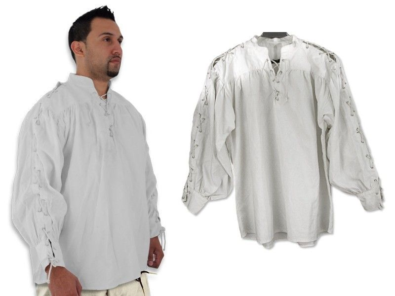 Collarless White Medieval Shirt with Laced Neck and Sleeves Medium