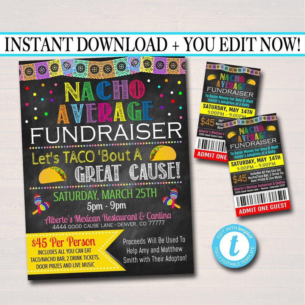 Nacho Average Fundraiser Taco Bar Invite Ticket Set Editable