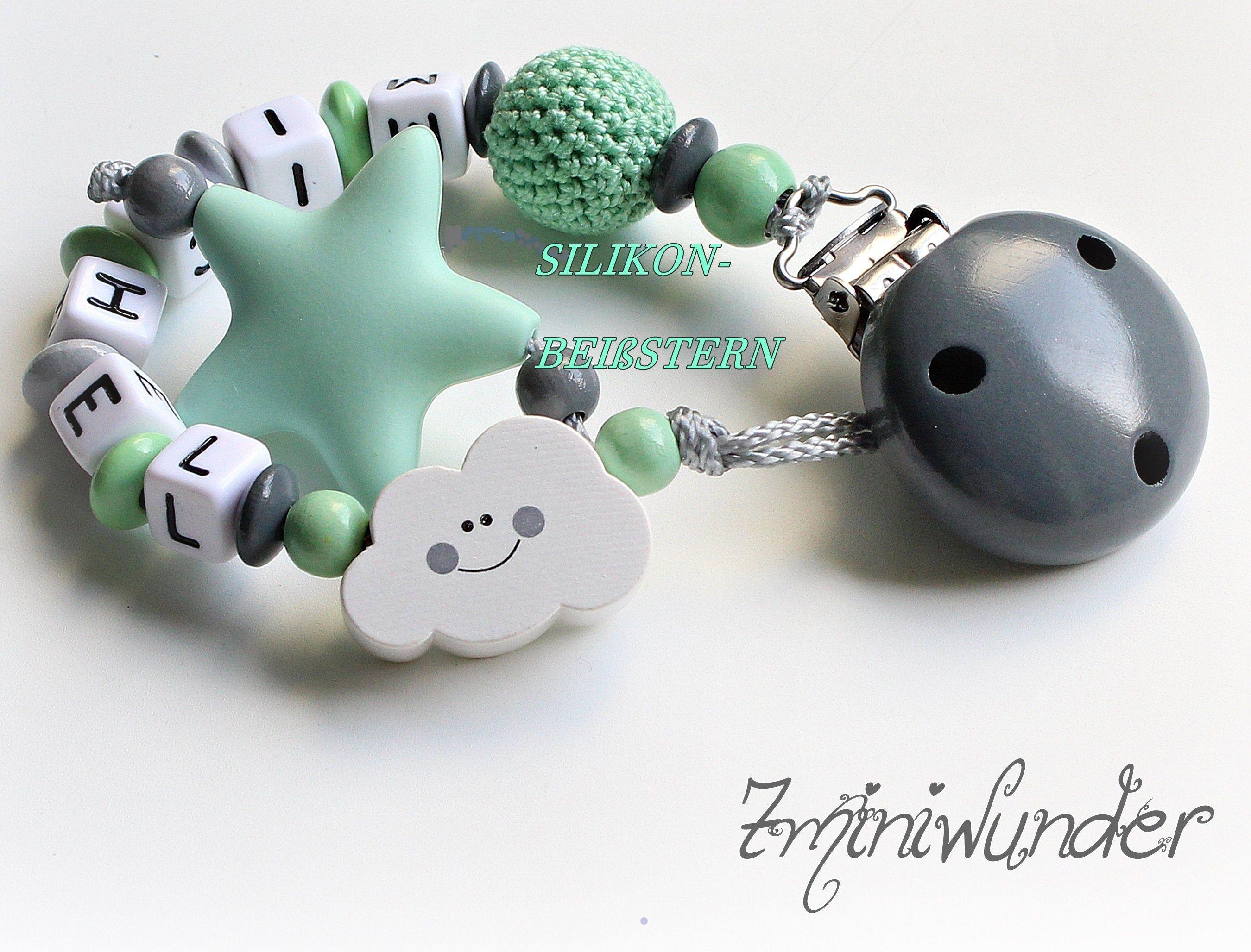 Schnullerkette mit Namen ★ Häkelperle Stern ★ Mint Grau Silber Mädchen und Junge