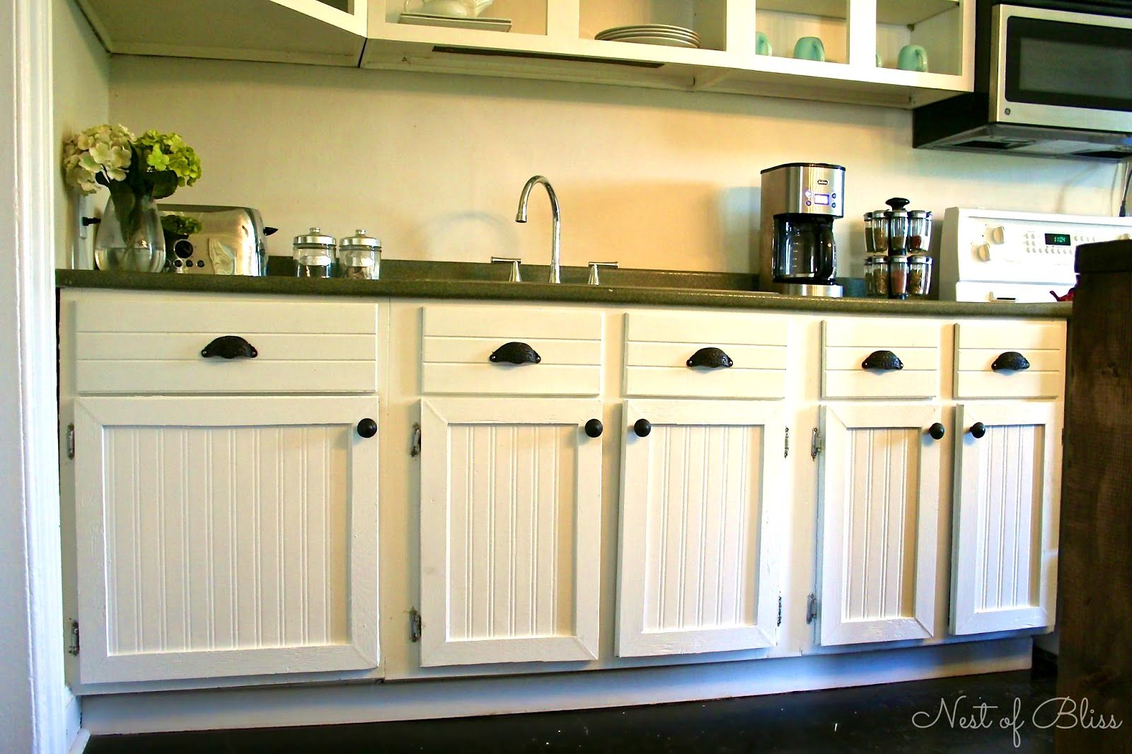 Image Result For Antique White Kitchen Cabinets With Chocolate Glaze Beadboard Beadboard Kitchen Beadboard Kitchen Cabinets Wainscoting Kitchen