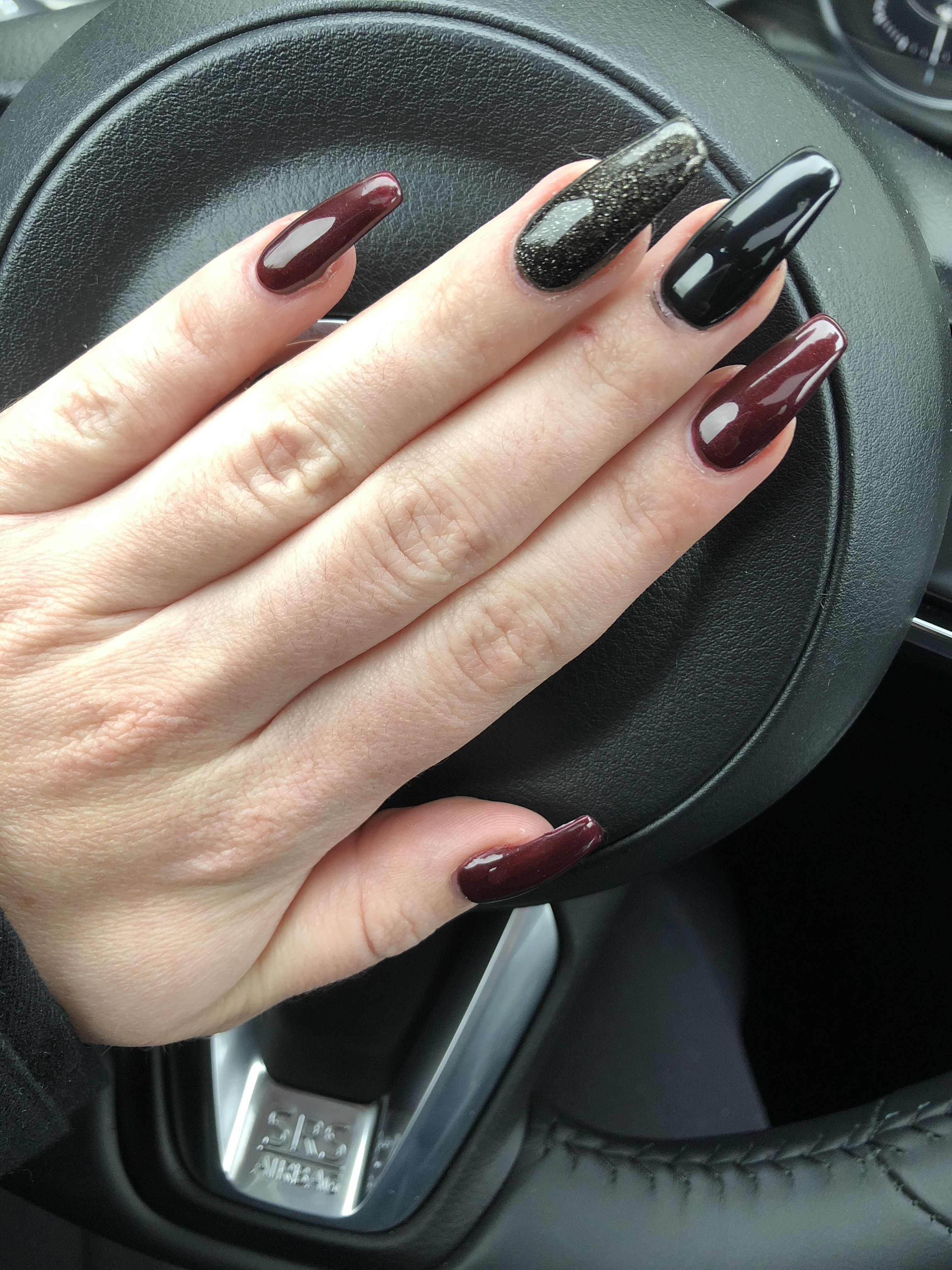red black coffin shape nails acrylic maroon burgundy fall winter ...