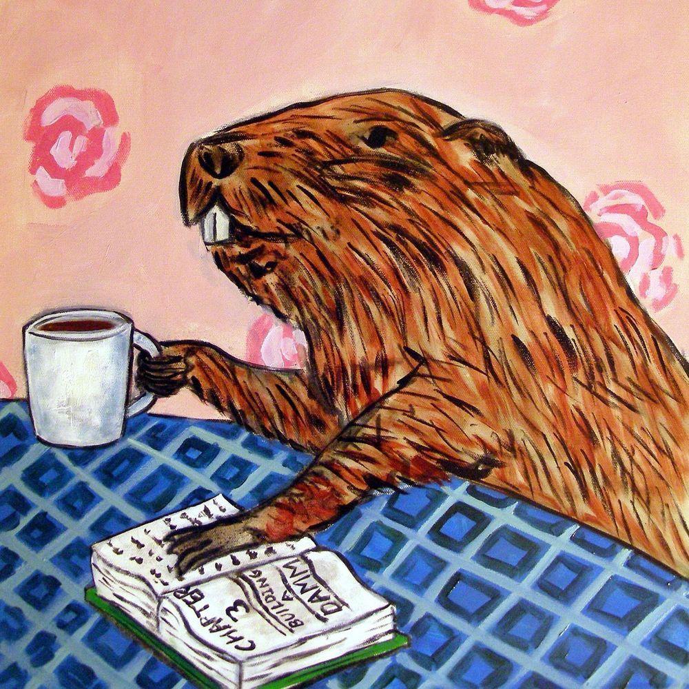 BEAVER at the cafe coffee shop art tile coaster gift artwork modern
