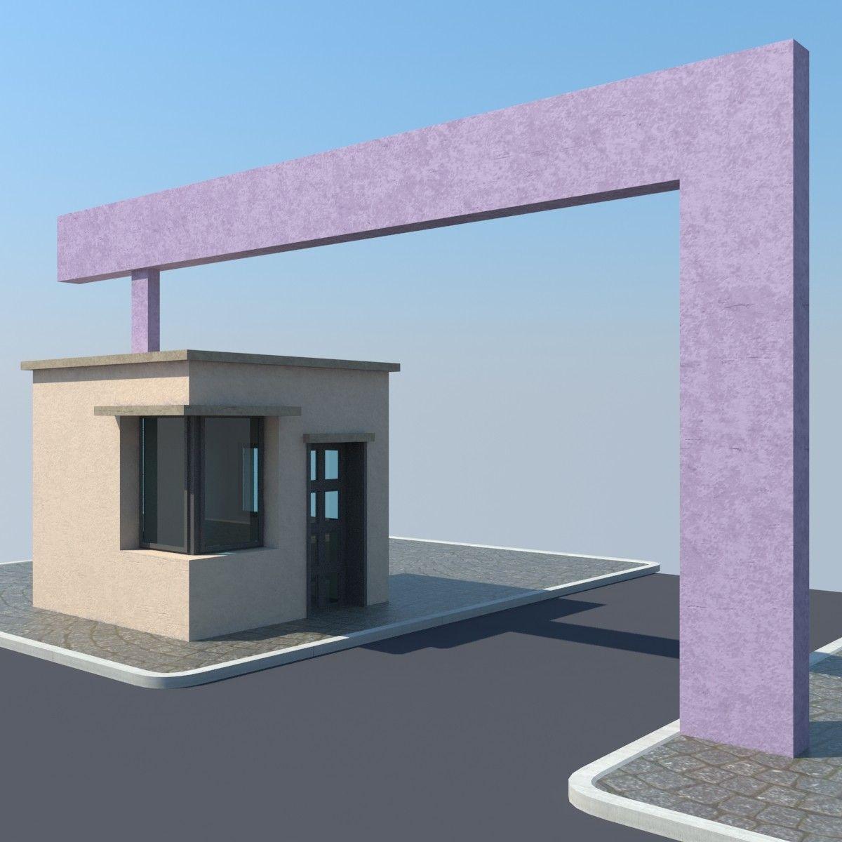 Free Gate Entrance 3d Model 3d Model House Gate Design Entrance Gates Design Entrance Gates