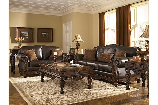 Ashley Furniture Living Room Leather Leather Living Room Set