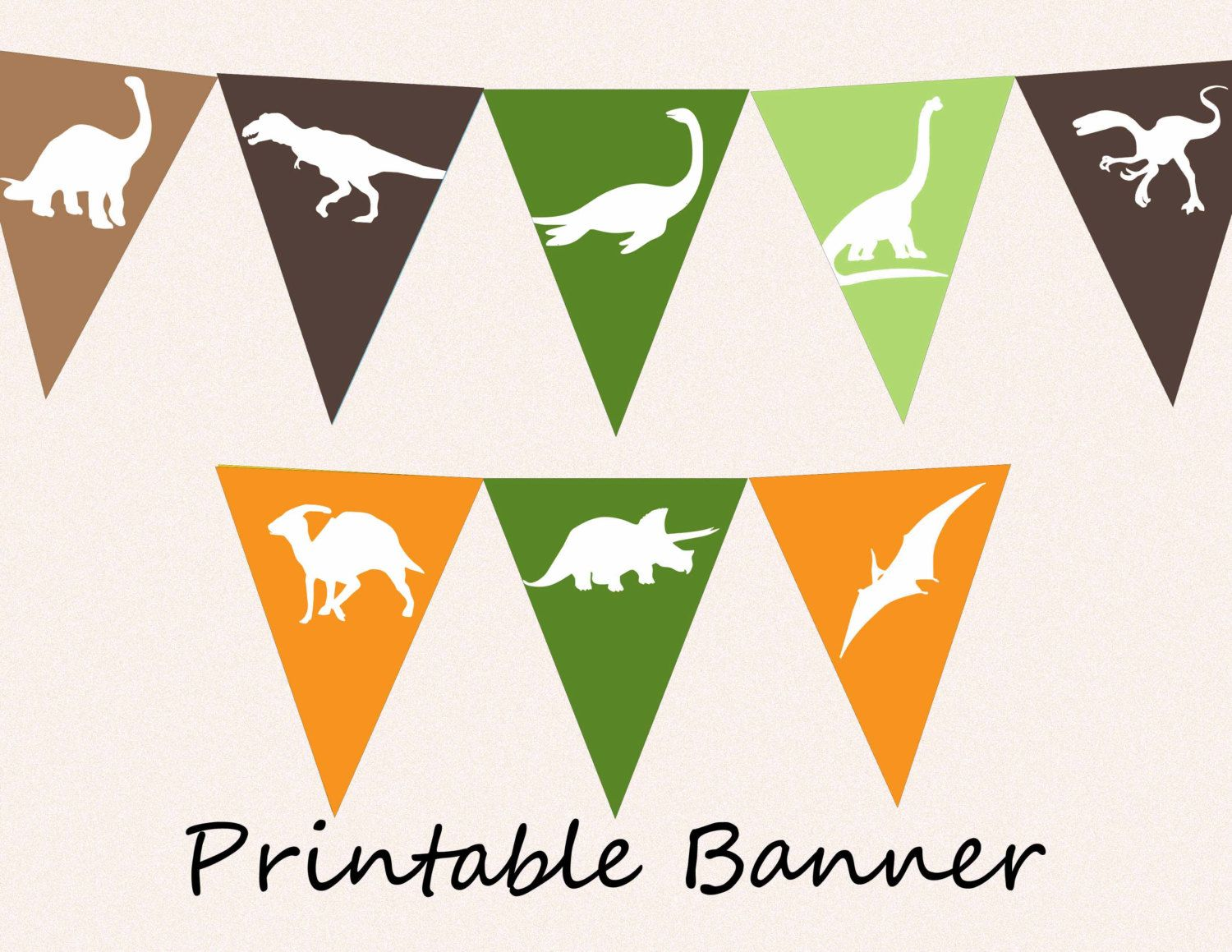 Printable Banner - Dinosaur Pennants DIY Bunting Flags for Party ...