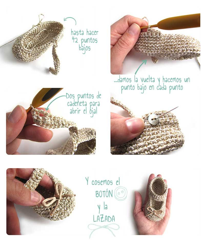 Cómo hacer unos patucos de crochet tipo merceditas | Crochet ...