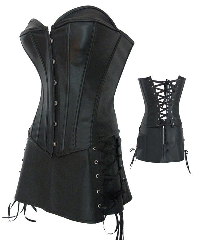 9433865d96 ladies faux leather basque corset skirt black red rocky horror 14 16 18 20  22 24